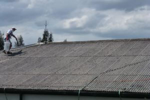male painter doing asbestos cement roof sheeting encapsulation