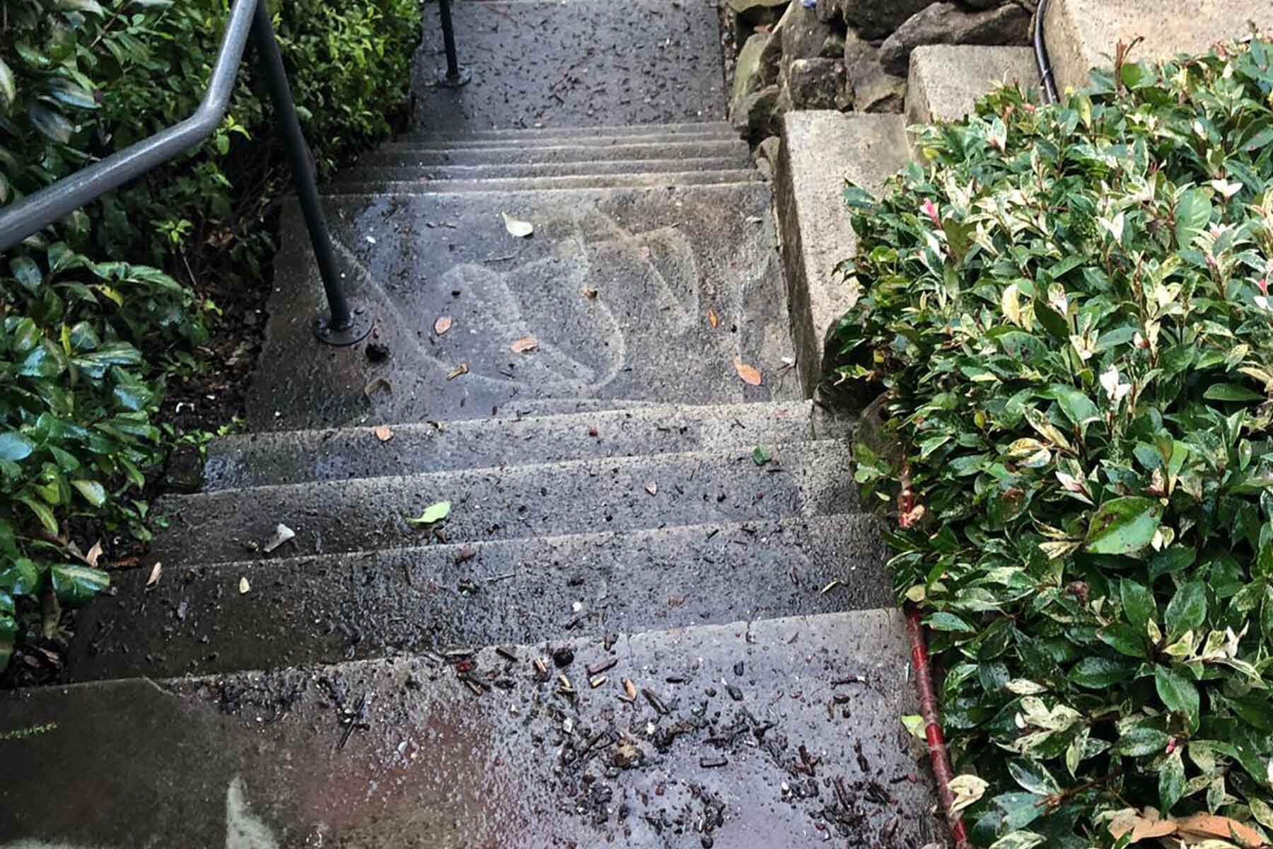 Exterior Staircase before pressure cleaning